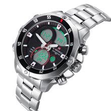 Men Watches NAVIFORCE Luxury Brand Full Steel Quartz Clock Digital LED Watch Army Military Sport Watch