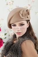 Шерсть мягкая стюардесса шляпы береты шапочка шляпы шапки милый цветок зимой теплый Ангора & новые женской моды