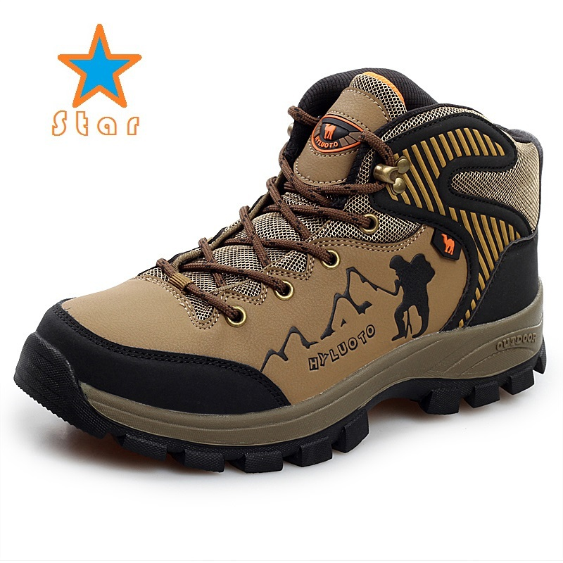 New Men's Outdoor Climbing Mountain Hiking Shoes Male Winter Sports Shoes Non-Slip High-top Hiking Sneakers HY-8077(China (Mainland))