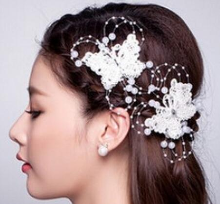 2015 Newest bridal headpieces fashion pearl butterfly white wedding bridal tiara crown headwear 1pcs wholesale price(China (Mainland))