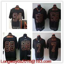 Denver Broncos fashion,Von Miller,DeMarcus Ware,Demaryius Thomas John Elway Demaryius Thomas all black for mens(China (Mainland))