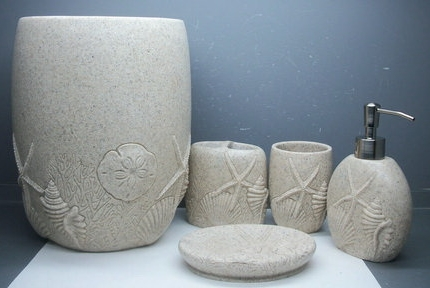 Continental postmodern resin imitation sand bath family of four mounted toiletries kit model room bathroom furnishings(China (Mainland))