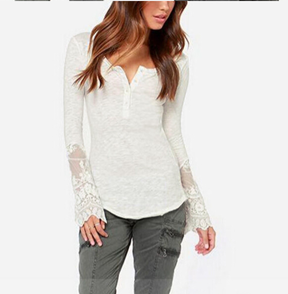 Lace Blusas 2015 Fashion Women Sheer Embroidery Floral Crochet Lace Blouse Sexy Blouse Shirt Clothing Femininas S-XXL(China (Mainland))