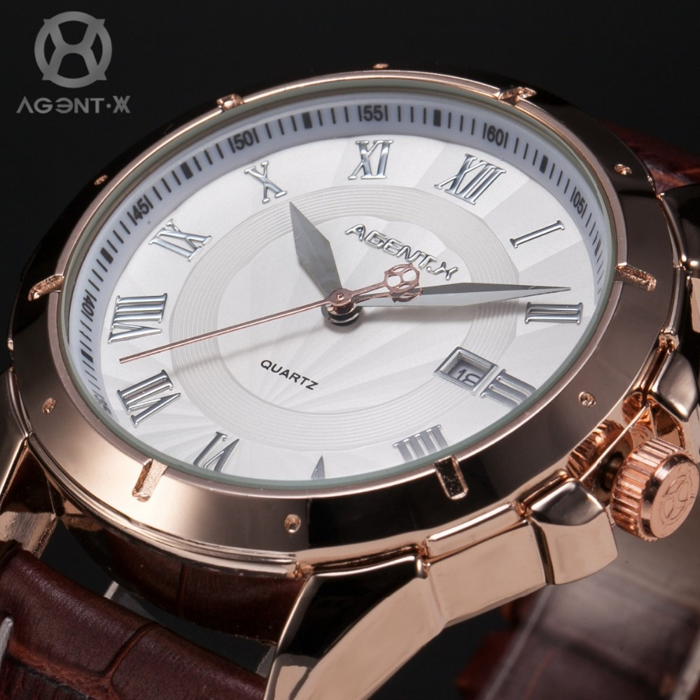 Гаджет  AGENTX Stainless Steel White Dial Analog Date Display Analog Brown Leather Band Analog Men Quartz Fashion Dress Watch / AGX042 None Часы