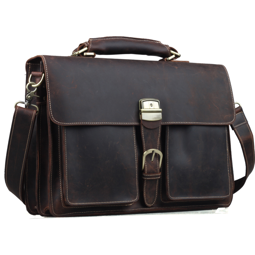 """TIDING Mens Brown Thick Leather 16"""" Laptop Bags Briefcase Tote Business Office Cases1031(China (Mainland))"""