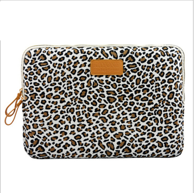 White Leopard Canvas Bag Netbook Pro Air Cover Laptop Cover Computer Sleeve Pouch Cover 7 SIZE Case Bag Free Shipping #(China (Mainland))
