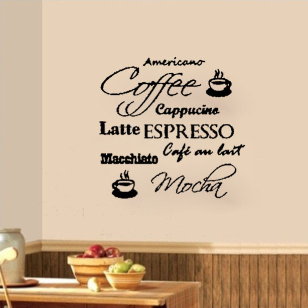 Coffee Espresso Latte Cafe Ivory Brown Kitchen Curtains: Coffee Cafe Cappucino Latte Mocha Wall Decals Vinyl Stickers Home Decor Kitchen Living Room Art