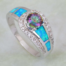 Distinctive best gift Fashion women' ring Pink Rainbow Mystic Topaz Opal 925 Stamp Sterling Silver Overlay ring R409