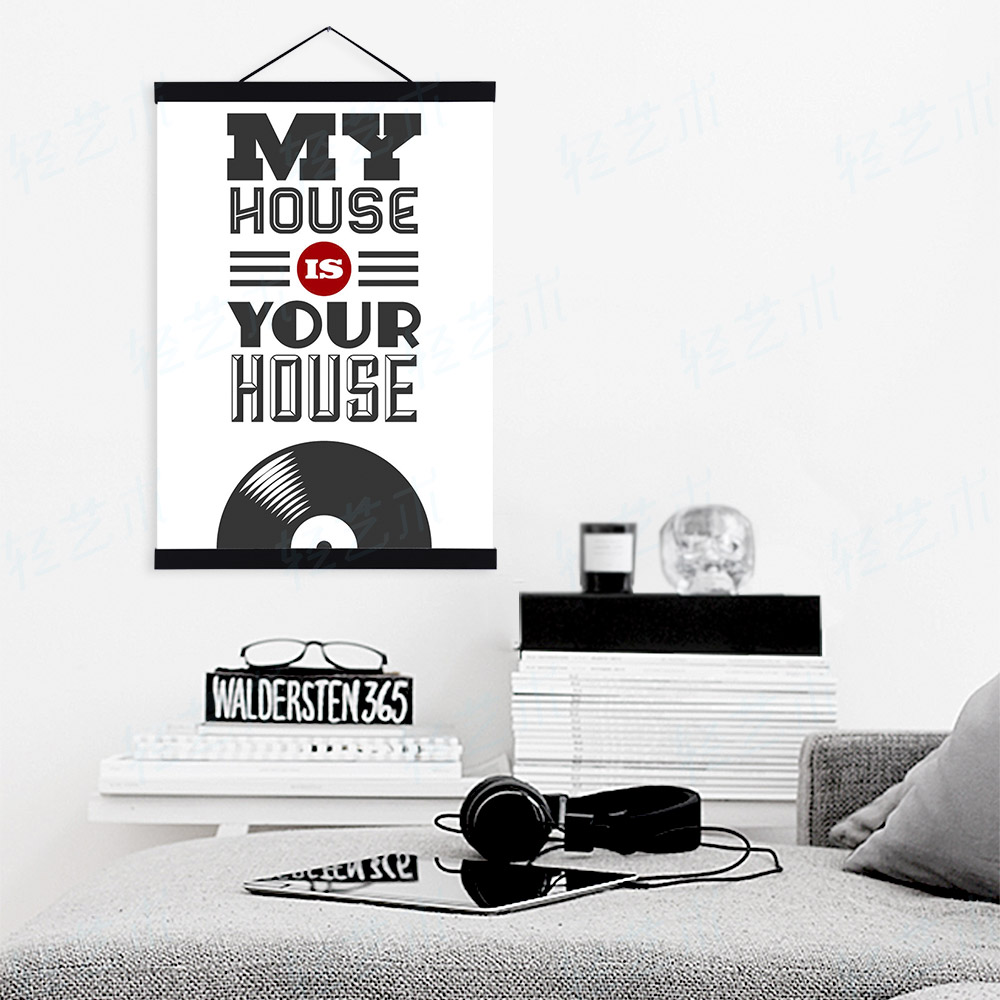 Modern minimalist black white pop vintage music a4 large for Modern house quotes