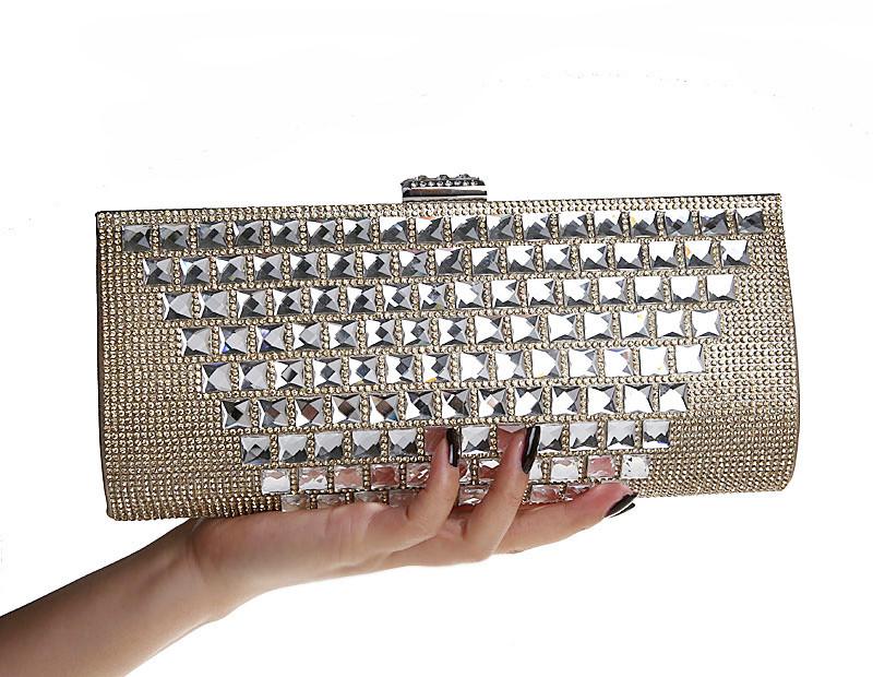New Rhinestone Clutch Wallet. Full Diamond Banquet Handbag Crystal Evening Bag. Women Shoulder Aslant Bag Black Gold Silver