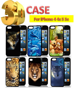 Fashion 3D Animal Prints Tiger Lion Leopard Wolf Teddy Bear Cats Dog Sea Fish back Cover Case for iPhone 5s 5 4 4s Accessories(China (Mainland))