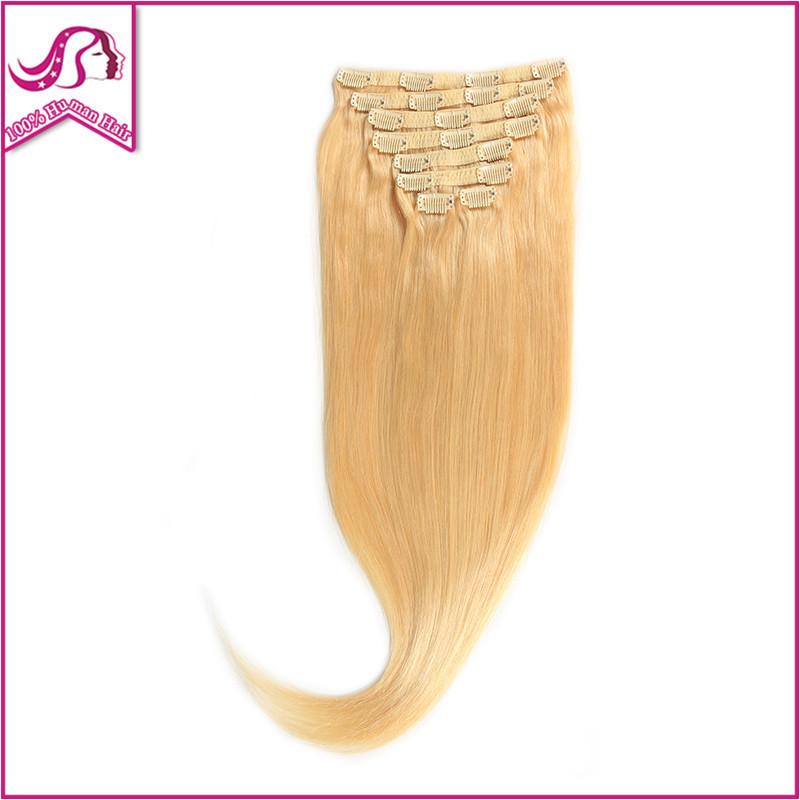Human Hair Brazilian 100% Human Clip In Full Head 1Set/Lot Brazilian Virgin Hair Clip Ins Real Clip In Hair Extensions Blonde
