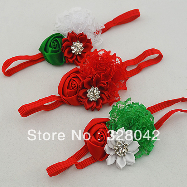Trail order Christmas Gifts lace rosettes flower headbands satin ribbon flower Sparkling Rhinestone elastic headbands 20pcs/lot