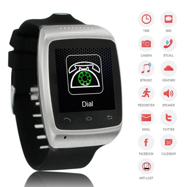 Smart Bluetooth Watch WristWatch for smartphones with camera and 8gb memory card(China (Mainland))
