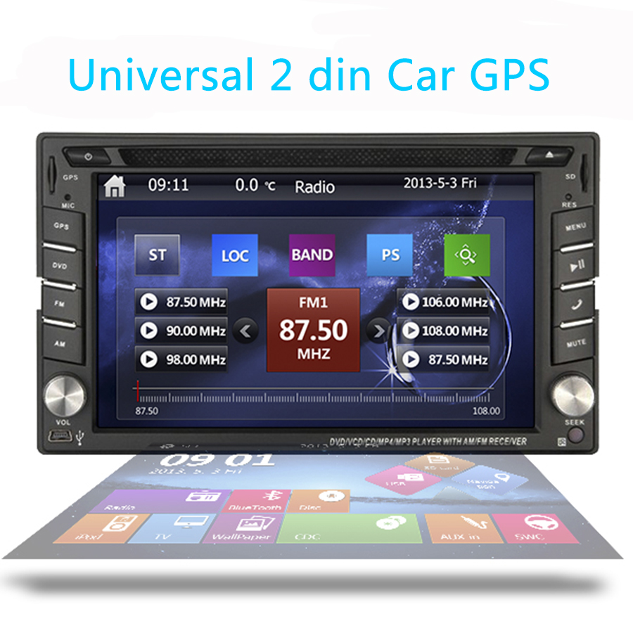 Double 2 Din 6.2 Inch Car DVD Player In Dash Stereo system Car Radio gps Bluetooth Audio autoradio USB/SD MP4 CD Video Player(China (Mainland))