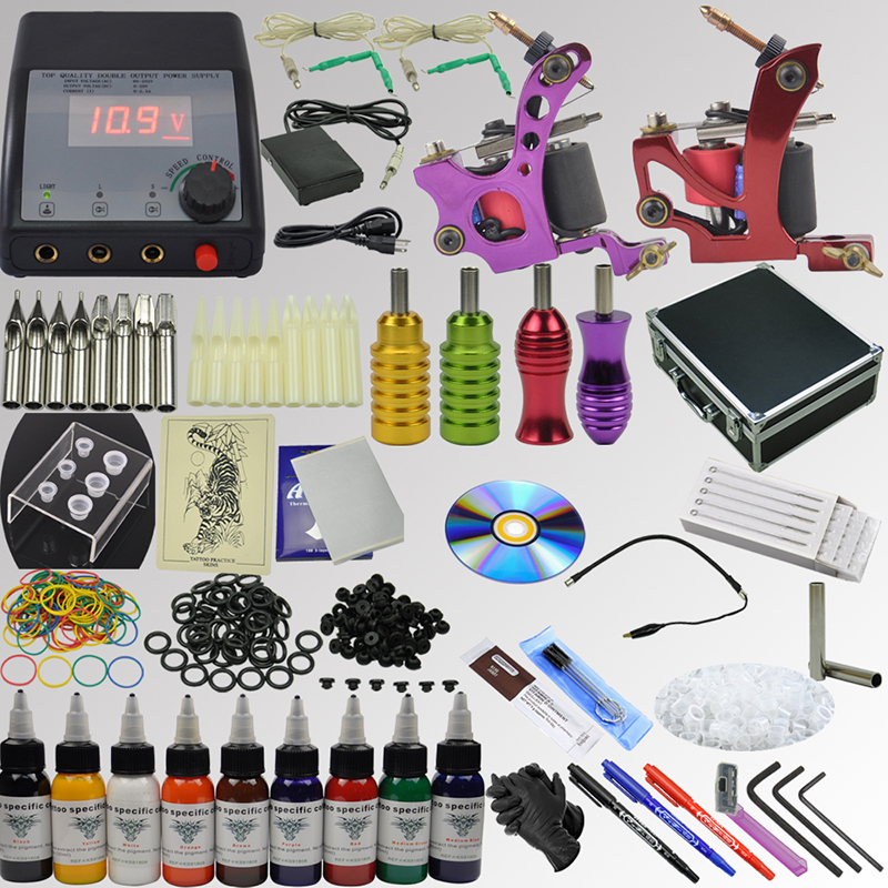 OPHIR 357pcs Pro 2 Tattoo Machine Gun Kit 9 Colour Ink Pigment Grip Needle Set _TA076