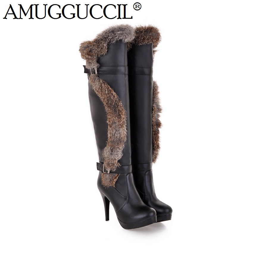 Black White Beige Buckle High Heel Platform Knee Thigh Fashion Women Rabbit Fur Womens Autumn Winter Boots X486 - Great Shoes store