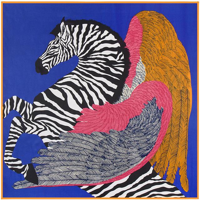 100 см * 100 см новое поступление 100% саржевые шелк женщин большой площади шарф зебра лошадь и перо печатные платок B129