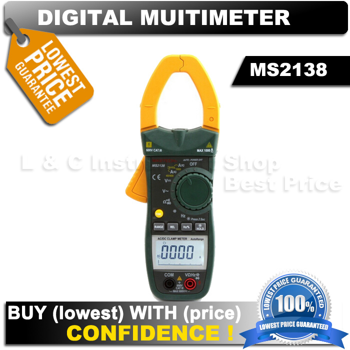 MASTECH MS2138 Digital 1000A AC DC Clamp Meter Multimeter 4000 Counts Electrical Current Voltage Tester with High Performance<br><br>Aliexpress