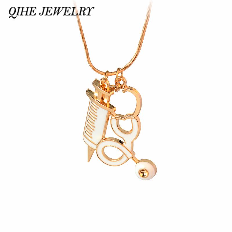 QIHE JELWERY Medical Stethoscope Syringe Pendant Necklace Men Women Gift For Nurse Doctor Medical Student Fashion Jewelry