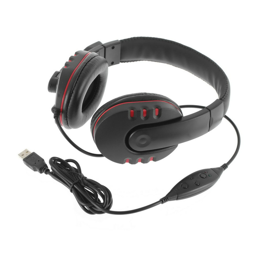 2015 Hot 1pc Leather USB Wired Stereo Micphone Headphone Mic Headset for Sony for PS3 PC Game est(China (Mainland))