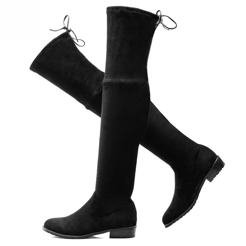 Womens Stretch Suede Over The Knee High Boots Sexy Fashion Lace Up Slim Faux Leather Tall Boots Woman Winter Shoes(China (Mainland))