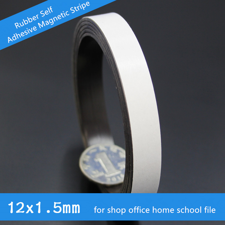 High Quality 1M Rubber Self Adhesive Magnetic Stripe Flexible Magnet DIY Craft Tape 10 x1.5mm for shop office home school file(China (Mainland))