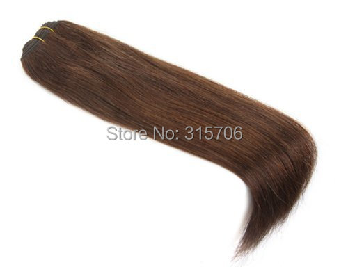 20 inch Remy Weft Hair Extensions silky straight 100g/set #4 medium brown - Fashion Girl's store