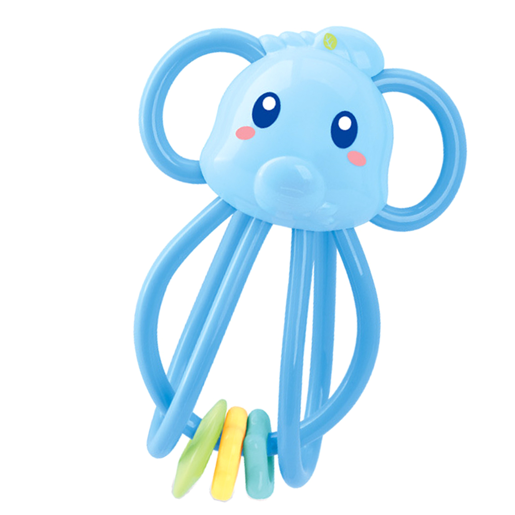 Baby Teether Ring Handbell Rattle Montessori Teething & Grasping Developmental Sound Toy for Infant Toddler - Elephant