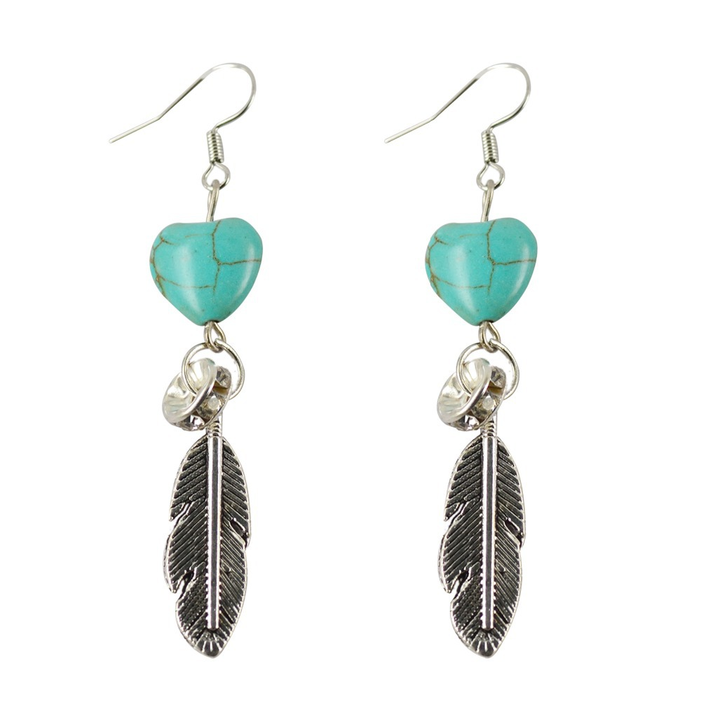 Vintage Sliver Long Earrings Fashion Feature Turquoise