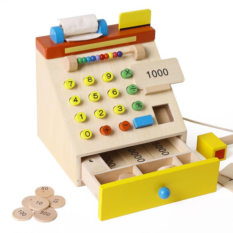 Japan Ed system simulation supermarket cash register Children's wooden checkout simulation play toys(China (Mainland))