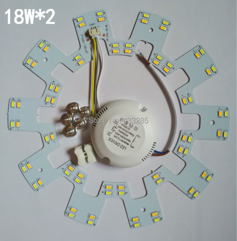 LED dome light panel light SMD5630/SMD5730 18W*2 cw/ww/cw+ww lamp plate three sections power supply sitting room bedroom lamp(China (Mainland))