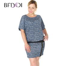 BFDADI 2016 женское свободное платье Большой размер 4XL 5XL летучая мышь с коротким рукавом цветочный женская одежда осенные и весные модные платья бесплатная доставка 3380 - 0(China (Mainland))