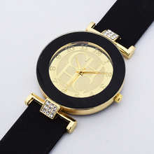 Hot sale Fashion Brand Gold Geneva sport Quartz Watch Women dress casual Crystal Silicone Watches montre homme relojes hombre(China (Mainland))