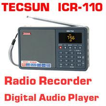 Free Shipping TECSUN ICR-110 FM/AM TF Card MP3 Player Recorder Radio (upgrade version of ICR-100)