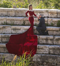 Long Train Wine Red Evening Dresses With Long Sleeves Mermaid With Belt Off the shoulder Satin Custom Made Prom Evening Gowns(China (Mainland))