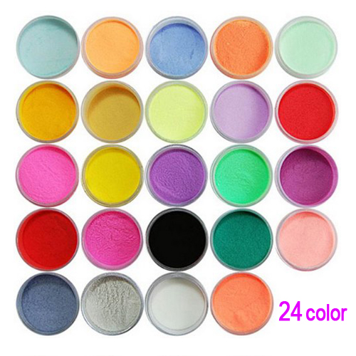10 Pack LCLL New Practical Superior Durable 24 Color Acrylic Powder Dust Nail Art Decoration(China (Mainland))