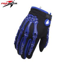 PRO-BIKER Motocross Off-Road Racing Gloves Skull Style Motorcycle Riding Motobike Motorcycle Full Finger Gloves Blue M L XL
