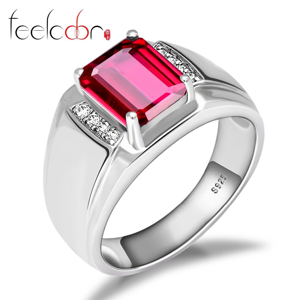 4.4ct Pigeon Blood Red Ruby Engagement Wedding Ring For Men 925 Solid Sterling Silver Luxury Design 2015 Brand New Hot Sale Gift