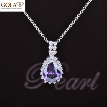 Free Shipping trendy Style Romantic Style Purple Cubic Zirconia Diamond Fashion Pendant Necklace For Women Hot Sale GLD0228(China (Mainland))