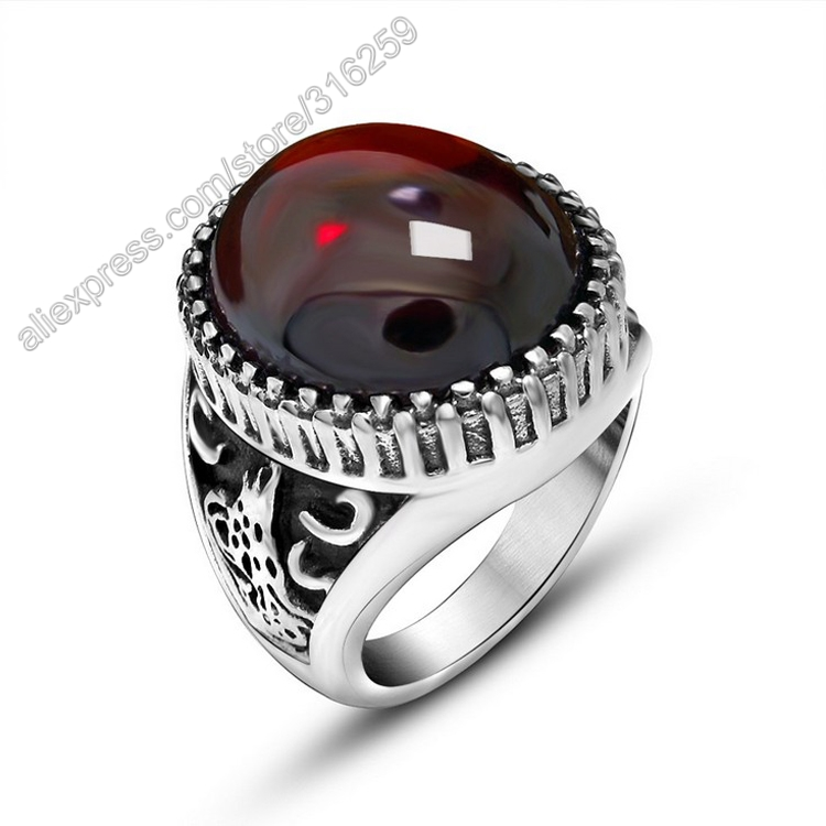 Red Agate Black Agate Retro Delicate Animal Relief Embossment Titanium Stainless Steel Men Ring Vintage Jewelry Couple Rings(China (Mainland))