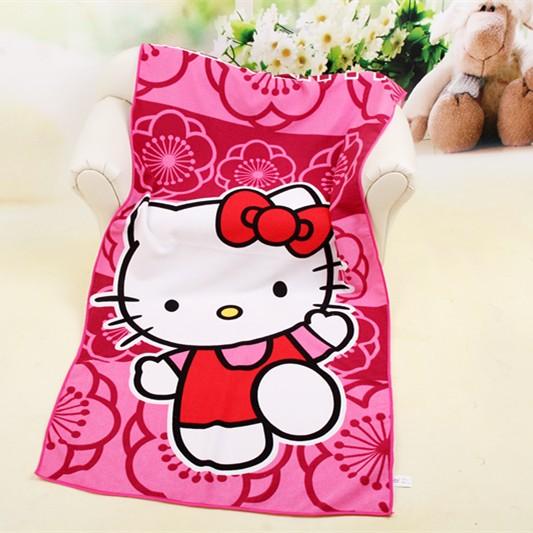 Cute Microfiber Cartoon Bath Towels Hello Kitty Travel Swim Spa Beach Towel For Kids Adults Baby Bathroom Robe Poncho 70*140cm(China (Mainland))