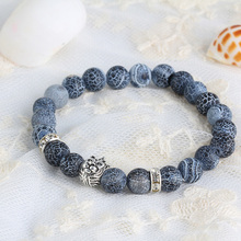 Natural Stones Silver Lion Charm Women Bracelets With Silver Crown Bracelets Alloy Crystal Accessories Men Bracelets E0069