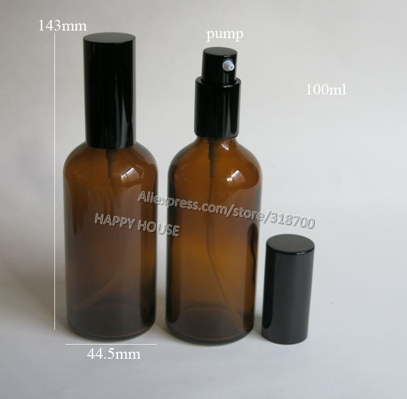 360 x  100 ml Amber Glass  Lotion Pump Bottle,100 cc Glass Essential Oil Bottle With Pump.<br>