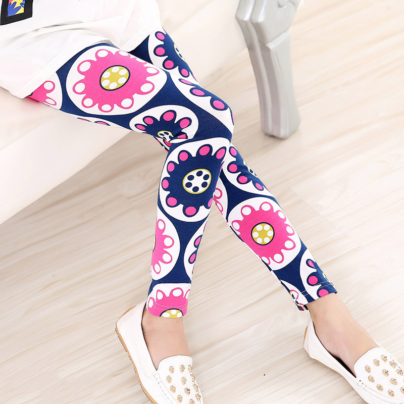2016 Summer Baby Kids Childrens printing Flower Toddler Classic Leggings girls pants Girls legging 2-14Ybaby girl leggings(China (Mainland))