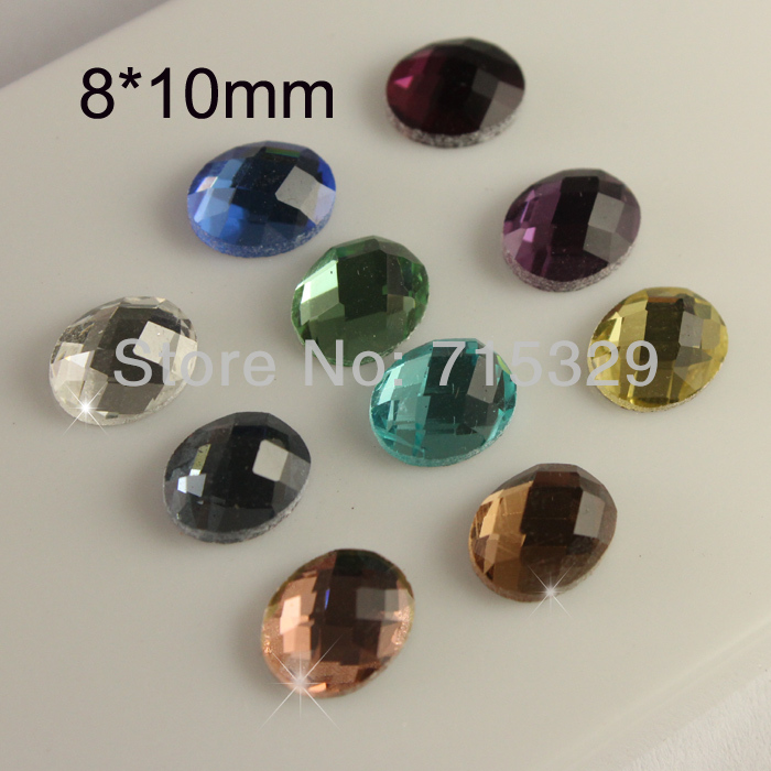 Vintage 25pc 8x10mm crystal Faceted Oval glass flatback rhinestones U-pick color - fashionbegin Industry International store