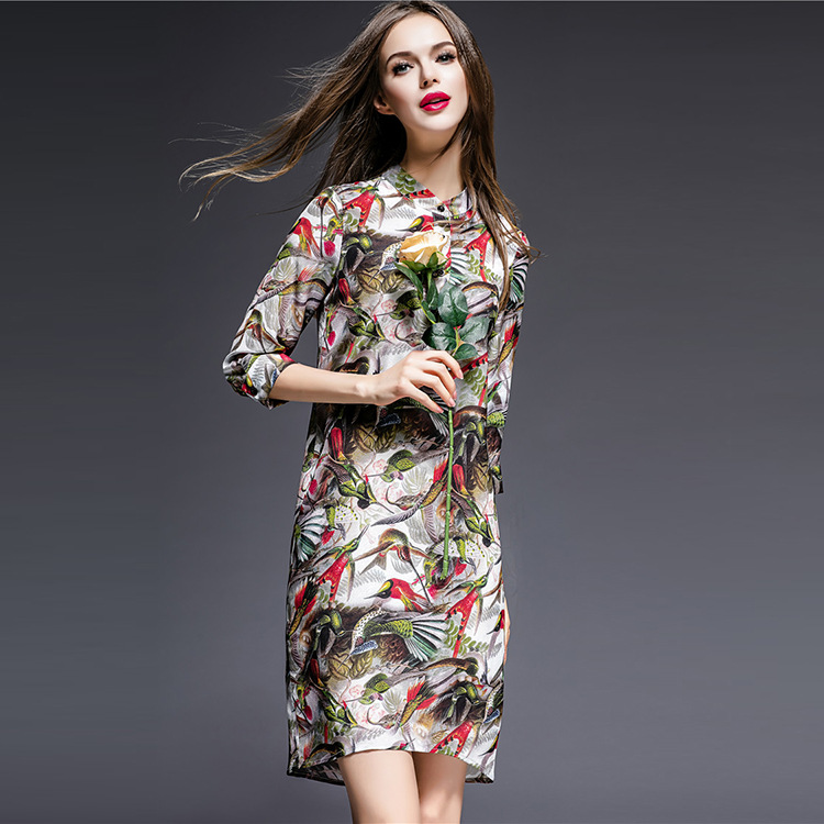 Shirt dress new 2016 women print dress three quarter sleeve 3D runway print floral brand summer dress high quality vestidos