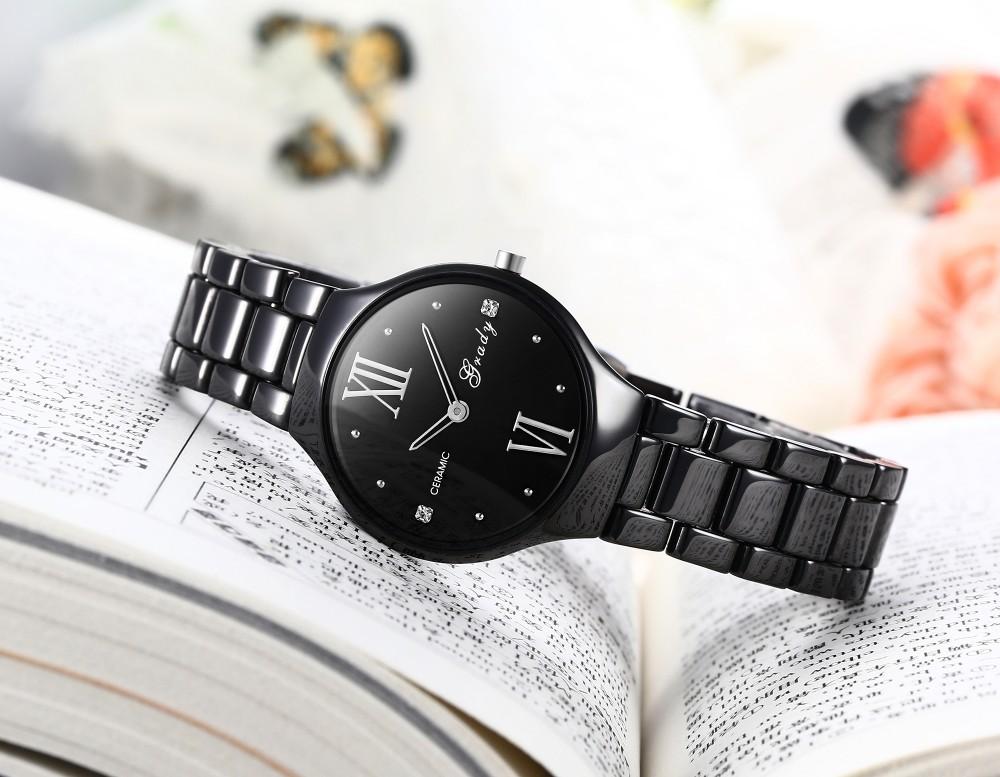 Бесплатная Доставка Грейди Hotsale женщины люкс керамические Часы-браслет Женские Часы 3atm водонепроницаемый наручные часы