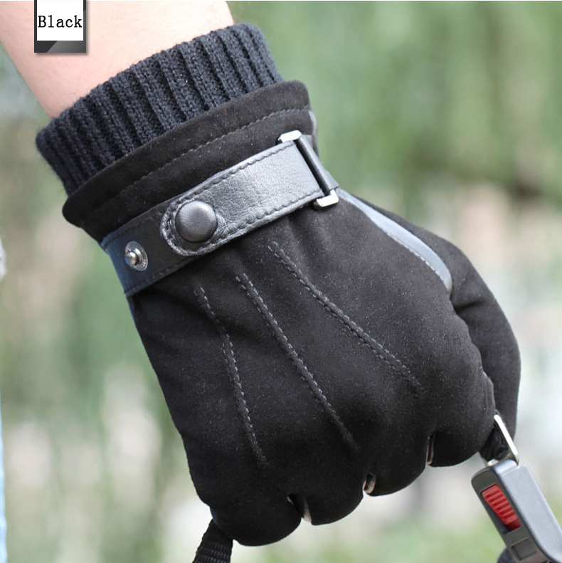 Top Quality Genuine Leather Glove For Men Winter Italian Nappa Suede Winter Warm Lined Driving Gloves S M L XL1 Pair/lots(China (Mainland))
