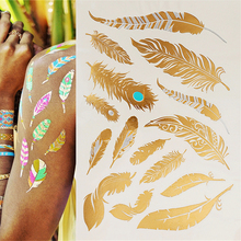 Golden feather design flash tattoos, beautiful body one-time temporary tattoos Can be waterproof, gold tattoo(China (Mainland))